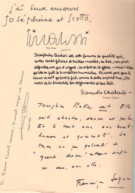 Extrait du programme de son dernier spectacle à Bobino 1975.
